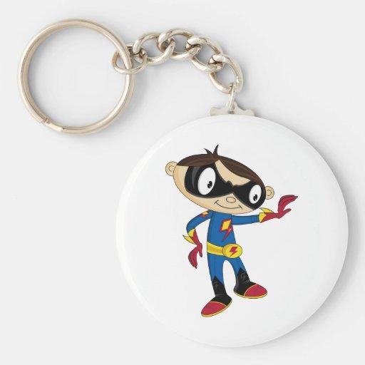 Cute Superhero Boy Basic Round Button Keychain