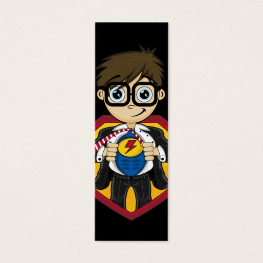 Cute Superhero Boy Bookmark Mini Business Card