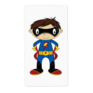 Cute Superhero Boy Custom Shipping Labels