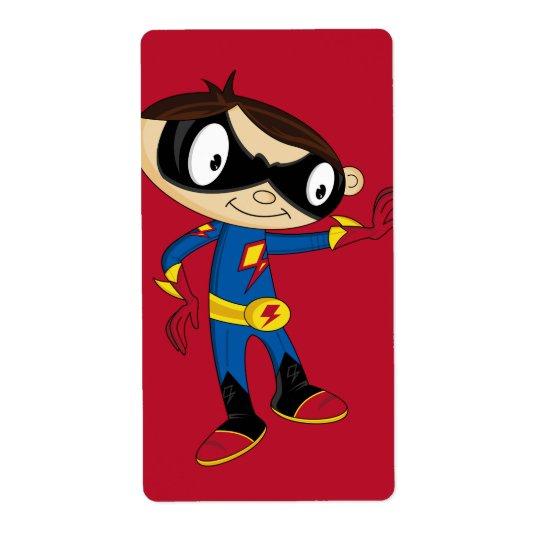 Cute Superhero Boy Label