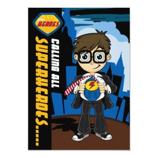 Cute Superhero Boy Party Invite 13 Cm X 18 Cm Invitation Card