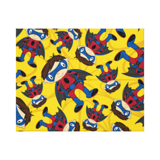 Cute Superhero Boy Pattern Canvas Print