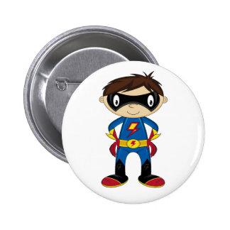 Cute Superhero Boy Pinback Button