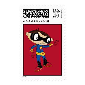 Cute Superhero Boy Postage