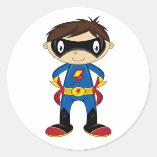 Cute Superhero Boy Classic Round Sticker