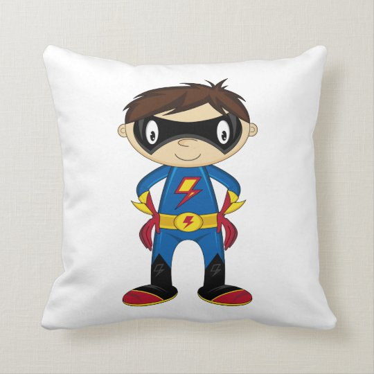 Cute Superhero Boy Throw Pillow