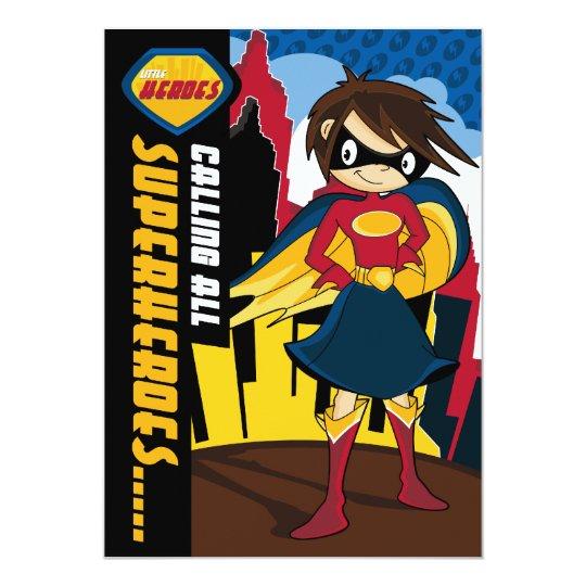 Cute Superhero Girl Party Invite