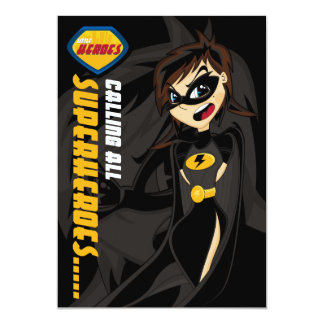 Cute Superhero Girl Party Invite 13 Cm X 18 Cm Invitation Card