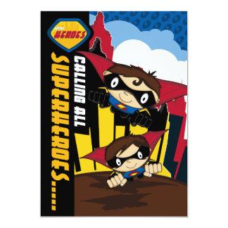 Cute Superheroes Party Invite 13 Cm X 18 Cm Invitation Card
