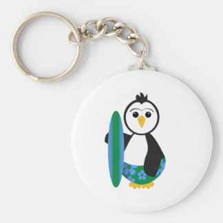 Cute Surfer Penguin Basic Round Button Keychain