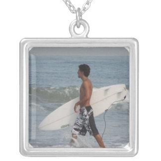 Cute Surfer Square Pendant Necklace