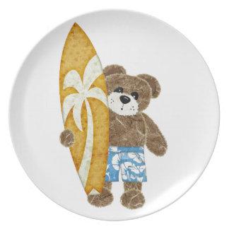 Cute surfer teddy bear party plates