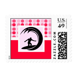 Cute Surfing Postage Stamp