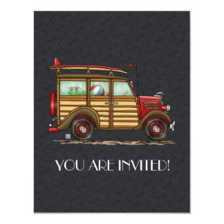 Cute Surfing Woody 4.25x5.5 Paper Invitation Card