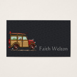 Cute Surfing Woody Business Card