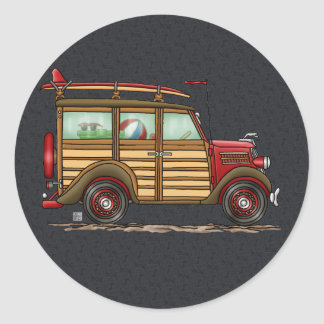 Cute Surfing Woody Classic Round Sticker