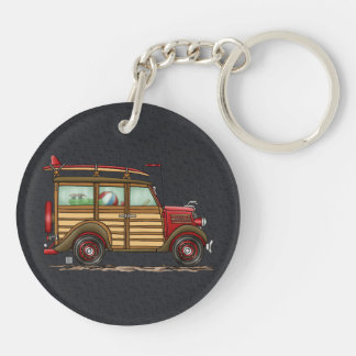 Cute Surfing Woody Double-Sided Round Acrylic Keychain