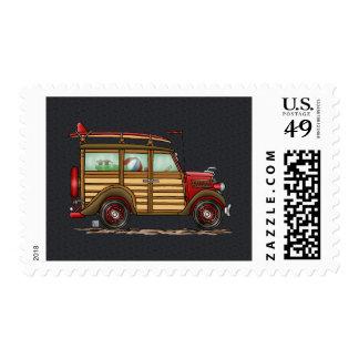 Cute Surfing Woody Stamp