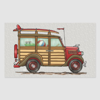 Cute Surfing Woody Rectangular Sticker