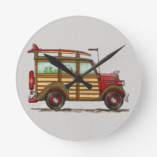 Cute Surfing Woody Round Clock
