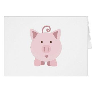Cute Surprised Pig Card