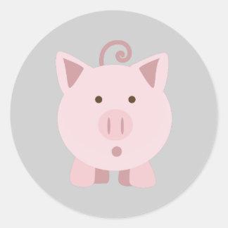 Cute Surprised Pig Classic Round Sticker