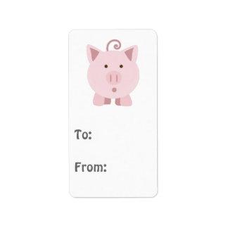 Cute Surprised Pig Label