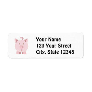 Cute Surprised Pig Label