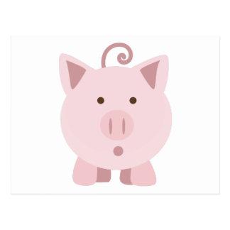 Cute Surprised Pig Postcard