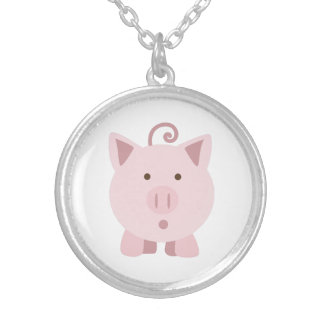 Cute Surprised Pig Silver Plated Necklace