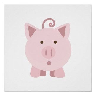 Cute Surprised Pig Perfect Poster
