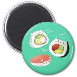Cute Sushi Cat 2 Inch Round Magnet