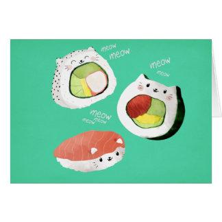Cute Sushi Cat Card