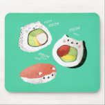 "Cute Sushi Cat Mouse Pad<br><div class=""desc"">Cute Kawaii Cat Sushi Rolls. This great opportunity for all cats lovers. If you like sushi, this awesome kawaii design is for you. Cute combination of sweet kitty cats and sushi rolls. Futomaki, nigiri and California roll are making cute cat noises – meow, meow, meow. Calling all sushi fans! Cute...</div>"