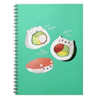 Cute Sushi Cat Spiral Notebooks
