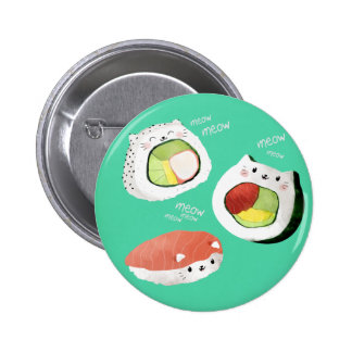 Cute Sushi Cat Pinback Button