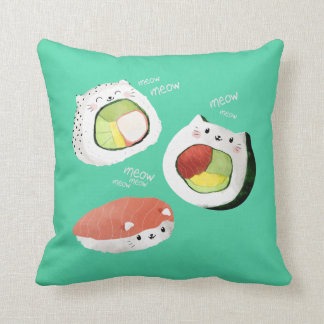 Cute Sushi Cat Throw Pillow