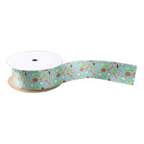 Cute Sushi Pattern Blue Satin Ribbon