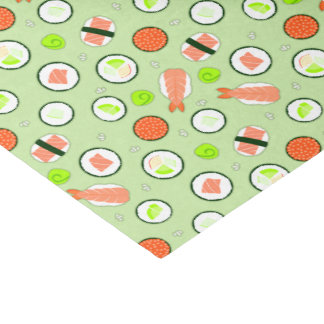 "Cute Sushi Pattern Green 10"" X 15"" Tissue Paper"