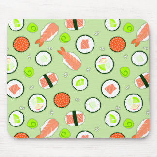 Cute Sushi Pattern Green Mouse Pad