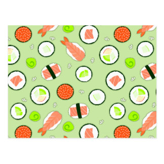 Cute Sushi Pattern Green Postcard