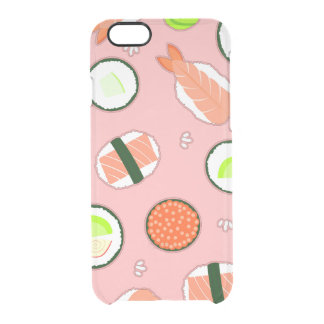 Cute Sushi Pattern Pink Clear iPhone 6/6S Case