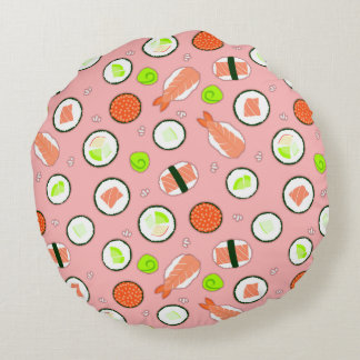 Cute Sushi Pattern Pink Round Pillow
