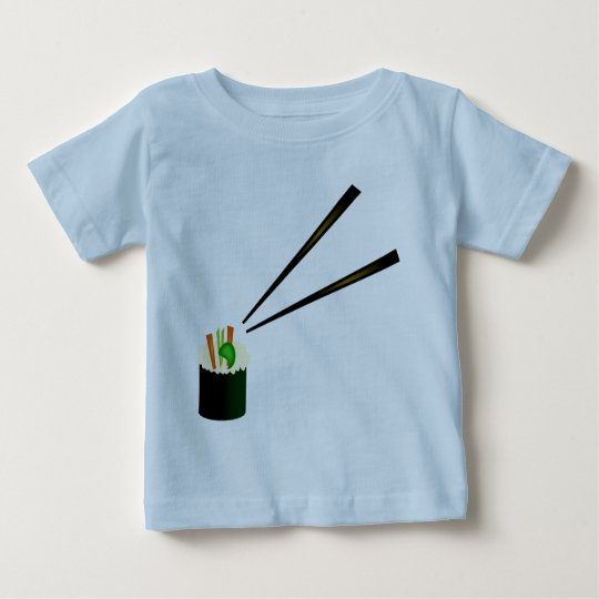Cute Sushi Roll In Corner With Chopsticks Baby T-Shirt
