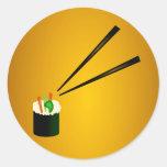 Cute Sushi Roll In Corner With Chopsticks Classic Round Sticker