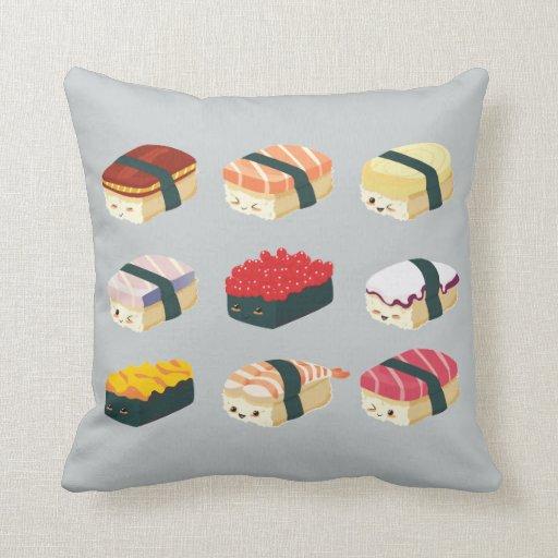 cute sushi throw pillow zazzle. Black Bedroom Furniture Sets. Home Design Ideas