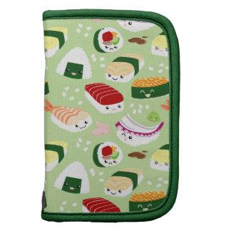 Cute Sushi With Faces Pattern Folio Organizer