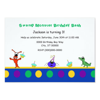 Cute Swamp Monster Cajun Child Birthday Card
