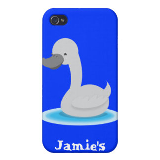 Cute swan Gosling grey Cover For iPhone 4