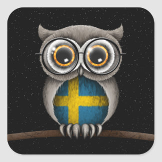 Cute Swedish Flag Owl Wearing Glasses Square Sticker